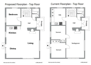 Upstairs floorplan - comparison
